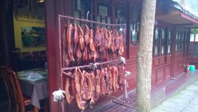 Cured meat hung out to dry for the spring festival