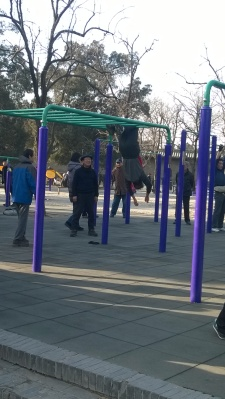 Notice the old man upside down on the jungle gym