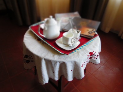 Coffee Tray with Steaming Chicory Cofee