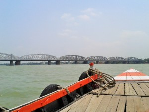 A wooden boat that ferries people across the Ganga